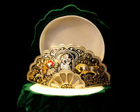 Precious  brooch in the green box Royalty Free Stock Image