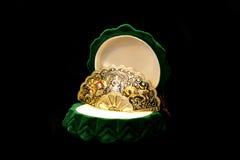 Precious brooch in the green  box. Precious brooch in the green box on black background Stock Image