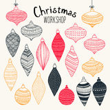 Precious Christmas ornaments & decorations. Christmas Workshop - full of precious Christmas ornaments & decorations. Every single piece has been drawn by hand royalty free illustration