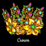 Precious crown with jewels and floral ornament Royalty Free Stock Photos