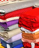 Precious fabrics for sale in tailoring Royalty Free Stock Image