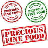 Precious Fine Food. Set of stamps with text Precious Fine Food,vector illustration Stock Photography