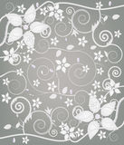 Precious floral background. Seamless flowers decoration with different kind of diamonds Stock Photos