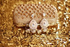 Precious Gem fashion earring with diamonds gems with Shiny Cryst Royalty Free Stock Images
