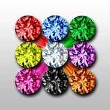 Precious Gemstones. Precious stones in 9 colors as jpg and png with transparent background Stock Photo