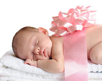 Precious Gift. A sleeping newborn wrapped in a broad pink ribbon and bow.  Isolated on white Stock Photos