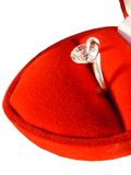Precious gift. Wedding ring in gift on white background Royalty Free Stock Photos