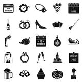 Precious gift icons set, simple style Royalty Free Stock Images
