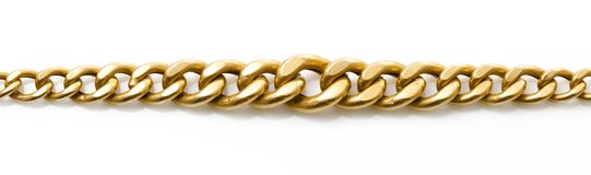 Gold chain on white background royalty free stock image