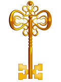 Precious gold key. Isolated on a white background 3d Royalty Free Stock Images