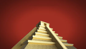 Precious golden metal Mexican Mayan Aztec Pyramid, high quality render isolated. Stock Images