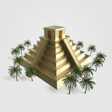 Precious golden metal Mexican Mayan Aztec Pyramid, high quality render isolated. with palm trees Royalty Free Stock Image