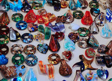 Precious hangings and Murano glass accessories for sale in marke Royalty Free Stock Photography