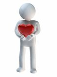Precious Heart. 3D rendering of a figure holding preciously on to a symbol of a heart in front of chest Royalty Free Stock Photos
