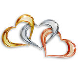 Precious hearts. Gold, silver and bronze hearts entwined on white background Royalty Free Stock Images