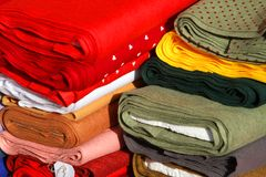 Precious Italian manufacture fabrics for sale in tailoring Royalty Free Stock Images