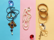 Precious jewelry gold and pearls Royalty Free Stock Photo