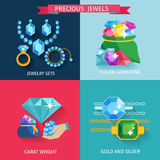 Precious Jewels Flat. Precious jewels design concept set with gold and silver jewelry color gemstone flat icons isolated vector illustration Stock Photography