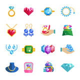 Precious Jewels Icons Flat Royalty Free Stock Photography