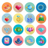 Precious Jewels Icons Flat Stock Photos
