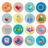 Precious Jewels Icons Flat Stock Photos