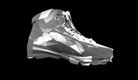 Precious metal sports shoes, low poly sneakers with hard edges and shiny faces. Sports fitness achievement metaphor Royalty Free Stock Photo