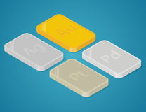 Precious metals bars. Stock Images