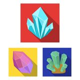 Precious Minerals flat icons in set collection for design. Jeweler and Equipment vector symbol stock web illustration. Precious Minerals flat icons in set Stock Photos