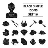 Precious minerals and jeweler set icons in black style. Big collection of precious minerals and jeweler vector symbol Stock Images
