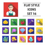 Precious minerals and jeweler set icons in flat style. Big collection of precious minerals and jeweler vector symbol Stock Photography