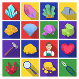 Precious minerals and jeweler set icons in flat style. Big collection of precious minerals and jeweler vector symbol Stock Photos