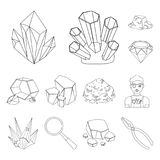 Precious Minerals outline icons in set collection for design. Jeweler and Equipment vector symbol stock web illustration. Precious Minerals outline icons in set Royalty Free Stock Photo