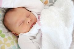 Precious Newborn Baby Girl Sleeping Stock Photography
