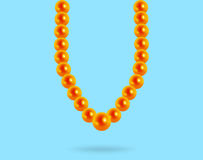 Precious pearl necklace on a blue background, reflection. 3D royalty free illustration