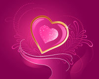 Precious pink heart. Precious pink brilliant heart with gilded scope on a pink background Royalty Free Stock Photo