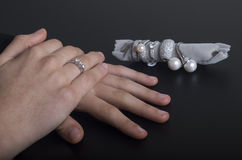 Precious rings. In jewelry to choose a precious ring Royalty Free Stock Image