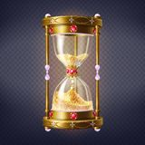 Precious sand clock with golden sand vector. Golden sand clock inlaid rubies and perls with golden shiny sand inside 3d realistic vector isolated on transparent vector illustration