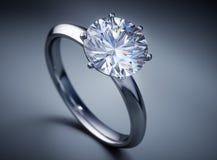 Precious shiny solitaire diamond ring vector illustration