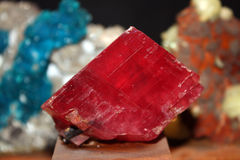 Precious Stone. A precious red stone in its raw form, in a mineral museum Stock Image