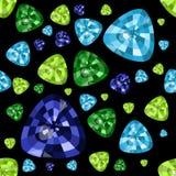 Precious stones on a black background. Blue topaz, emerald, sapphire. Seamless vector pattern stock illustration
