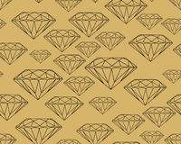 Precious stones Black on brown background. Seamless vector jewelry pattern Vector Illustration
