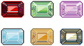 Precious stones with emerald cut. Illustration of precious stones with emerald cut Stock Image
