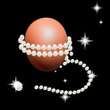 Precious string of pearls around Easter eggs. Holiday decorations for Easter. Royalty Free Stock Photos