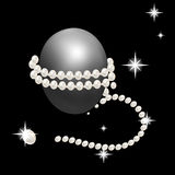 Precious string of pearls around Easter eggs. Holiday decorations for Easter. Royalty Free Stock Photography