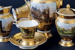 Precious Tea Set at Tsarskoye Selo Pushkin Palace near Saint Petersburg Royalty Free Stock Photos