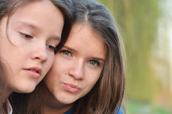 Precious time. Girls spending precious time together, focus on one of them Stock Photography