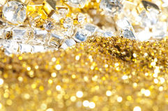 Precious treasure. Background. Gems and Gold Royalty Free Stock Photography