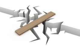 Precipice. Transition over a precipice in the form of a wooden board Stock Photography