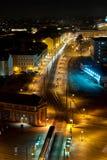 Precipitación de la noche en una ciudad Imágenes de archivo libres de regalías