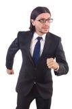Precipitación del hombre de negocios aislada Imagen de archivo